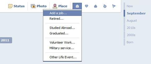 Facebook Timeline Work and Education