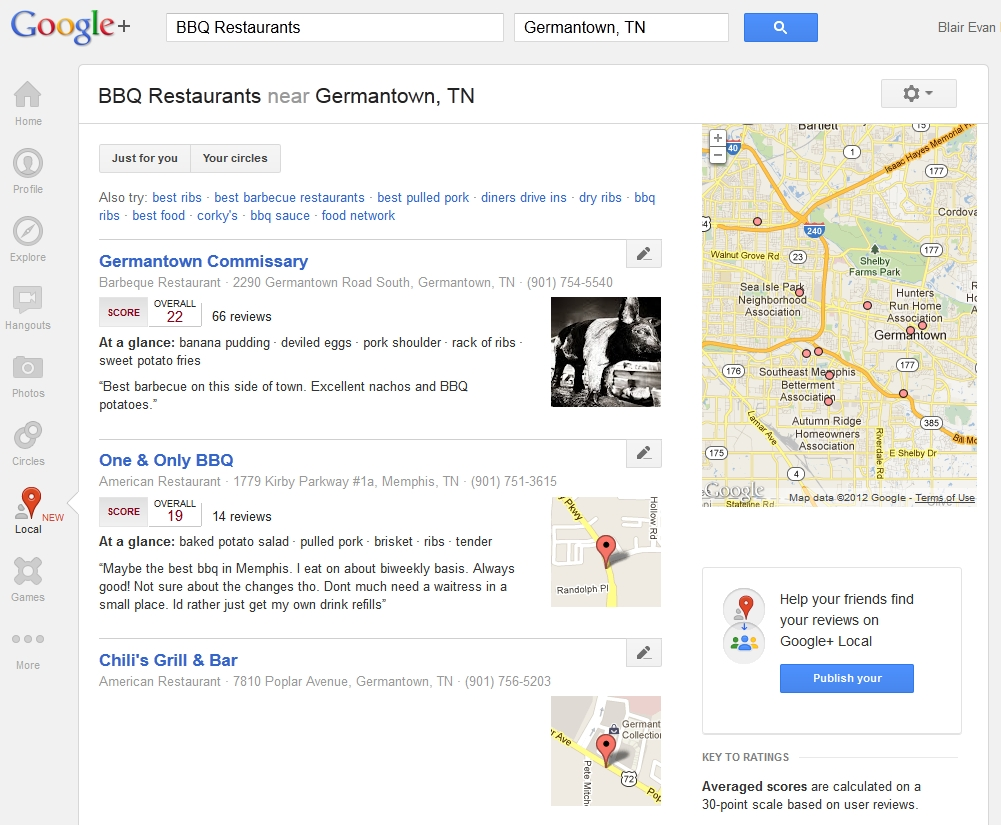 Google+ Local for Germantown BBQ