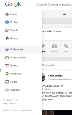 Google+ Collections Side Bar