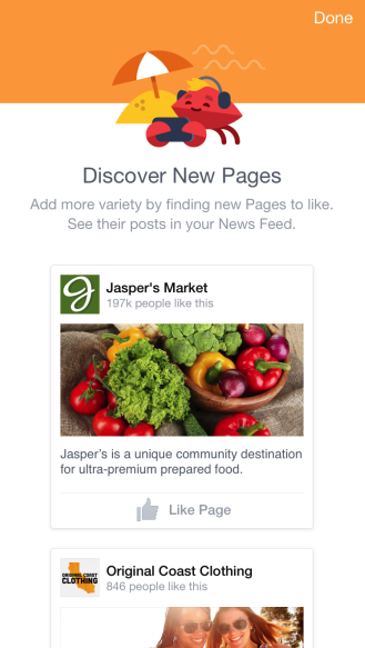Facebook Discover New Pages