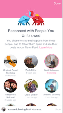 Facebook Reconnect with Unfollowers