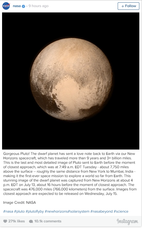 NASA Photo of Pluto Instagram