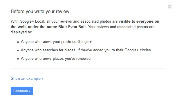 Google+ Local Review