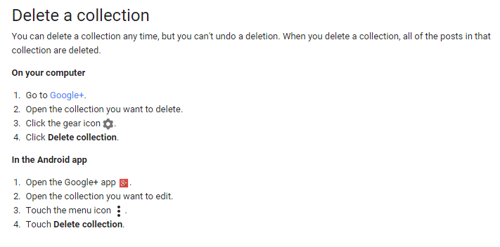 Delete a Google+ Collection