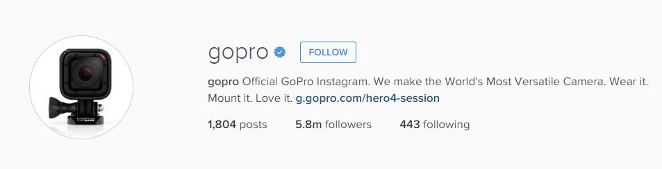 GoPro Instagram Bio